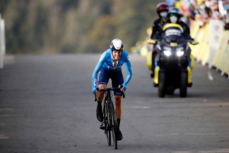 LA PLANCHE FRANCE SEPTEMBER 19 Arrival Enric Mas Nicolau of Spain and Movistar Team during the 107th Tour de France 2020 Stage 20 a 362km Individual Time Trial stage from Lure to La Planche Des Belles Filles 1035m ITT TDF2020 LeTour on September 19 2020 in La Planche France Photo by Sebastien Nogier PoolGetty Images