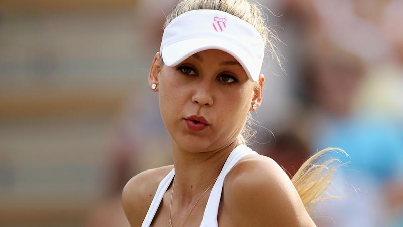 Anna Kournikova, pictured here in action at Wimbledon in 2010.