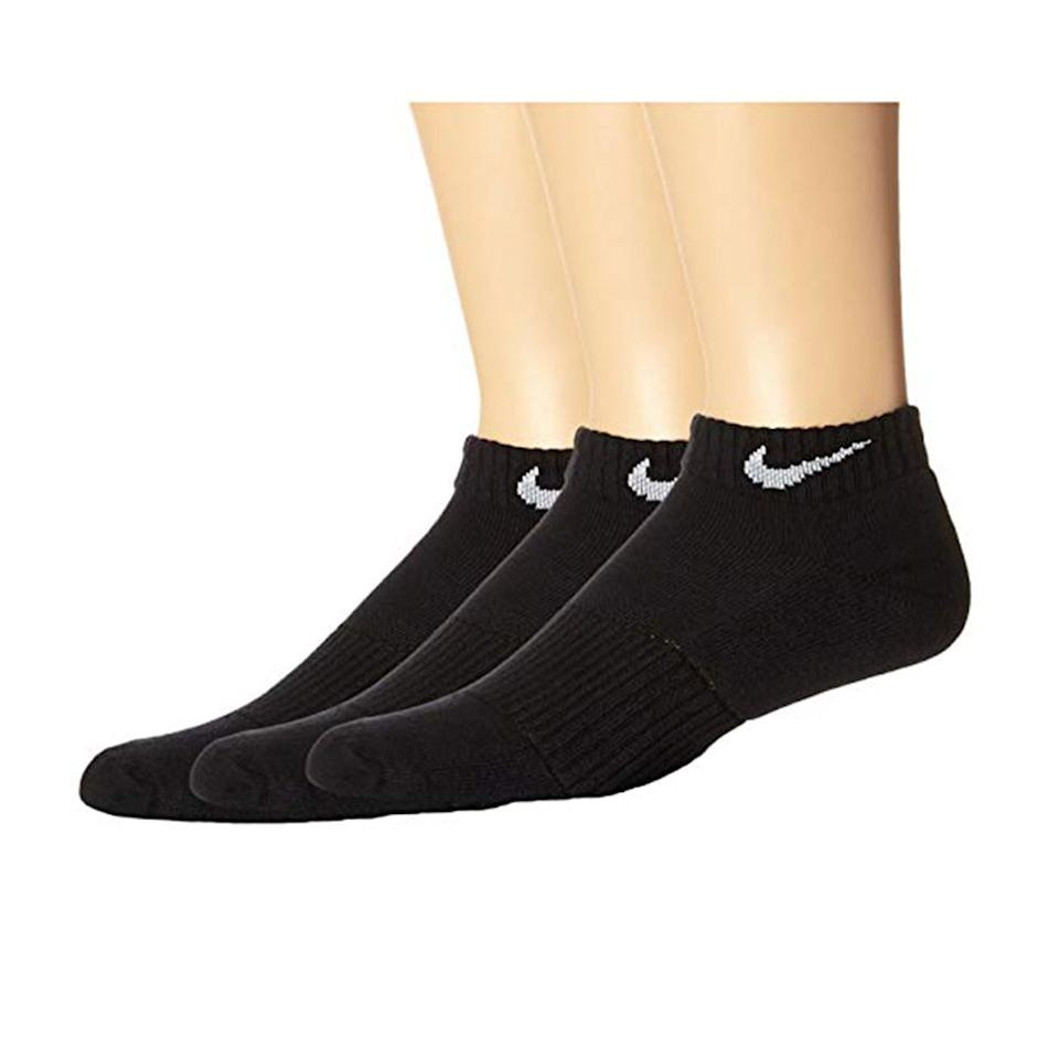 """<p><strong>Nike</strong></p><p>zappos.com</p><p><a href=""""https://go.redirectingat.com?id=74968X1596630&url=https%3A%2F%2Fwww.zappos.com%2Fp%2Fnike-cotton-cushion-low-cut-with-moisture-management-3-pair-pack-white-black%2Fproduct%2F8068301&sref=http%3A%2F%2Fwww.menshealth.com%2Ftechnology-gear%2Fg28591494%2Fzappos-nike-sale%2F"""" target=""""_blank"""">BUY IT HERE</a></p><p>Original Price: <del>$14.00</del></p><p><strong>Price With Code NIKESALE19:  $9.45</strong></p>"""