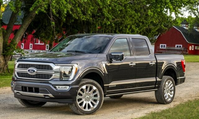 All-new F-150 Limited in Smoked Quartz Tinted Clearcoat. New exterior design has a bolder and even tougher look, while an all-new interior provides more comfort, technology and functionality for truck customers, along with enhanced materials, new color choices and more storage.