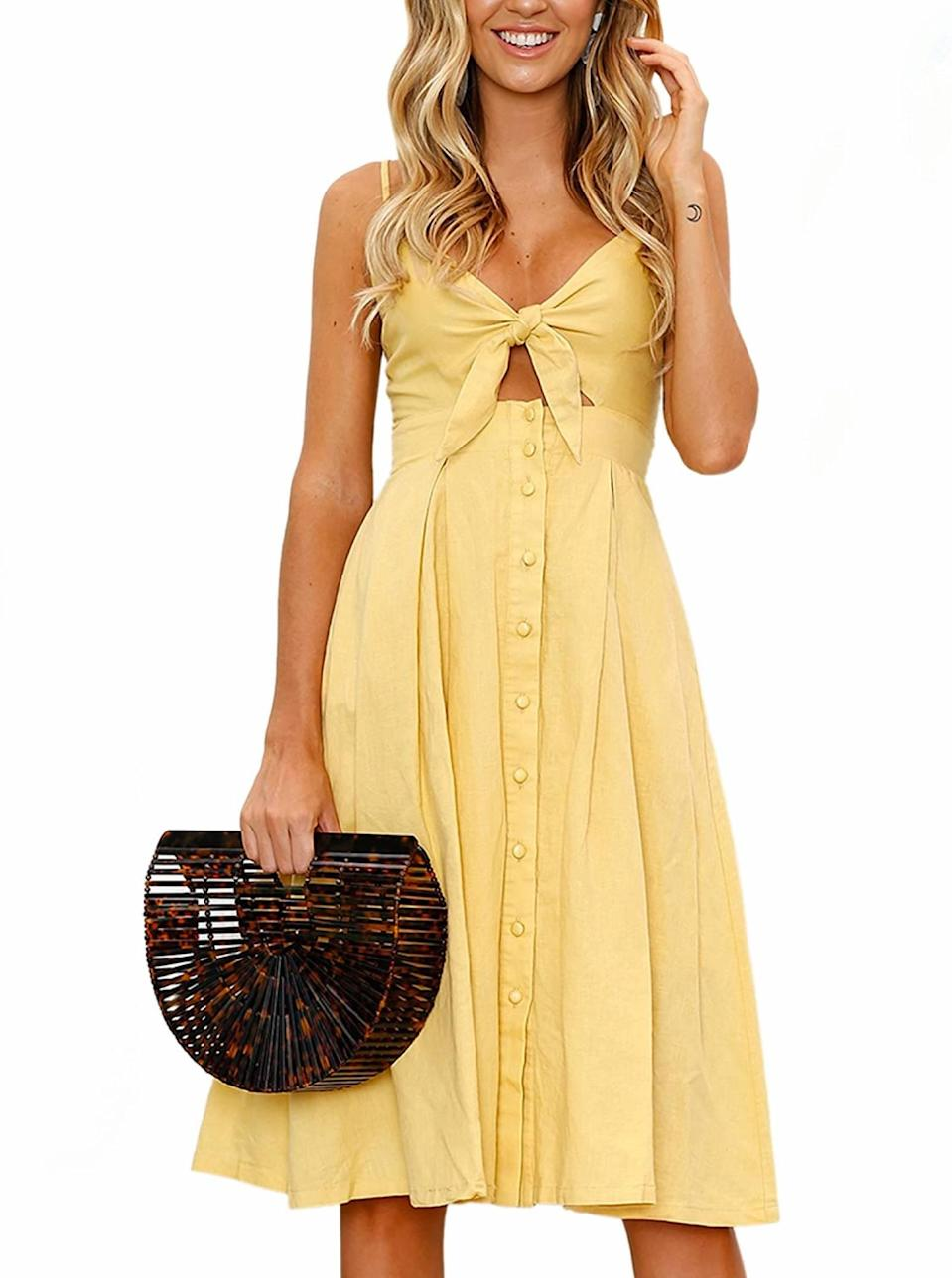 """A yellow sundress best paired with a wooden bag and an <a href=""""https://www.glamour.com/story/haus-aperitif-review?mbid=synd_yahoo_rss"""" rel=""""nofollow noopener"""" target=""""_blank"""" data-ylk=""""slk:aperitif"""" class=""""link rapid-noclick-resp"""">aperitif</a>. $18, Amazon. <a href=""""https://www.amazon.com/ECOWISH-Womens-Summer-Spaghetti-Backless/dp/B0799KCJZV"""" rel=""""nofollow noopener"""" target=""""_blank"""" data-ylk=""""slk:Get it now!"""" class=""""link rapid-noclick-resp"""">Get it now!</a>"""