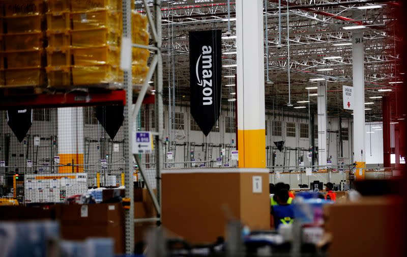 FILE PHOTO: The logo of Amazon is seen at their new Amazon warehouse during its opening announcement on the outskirts of Mexico City