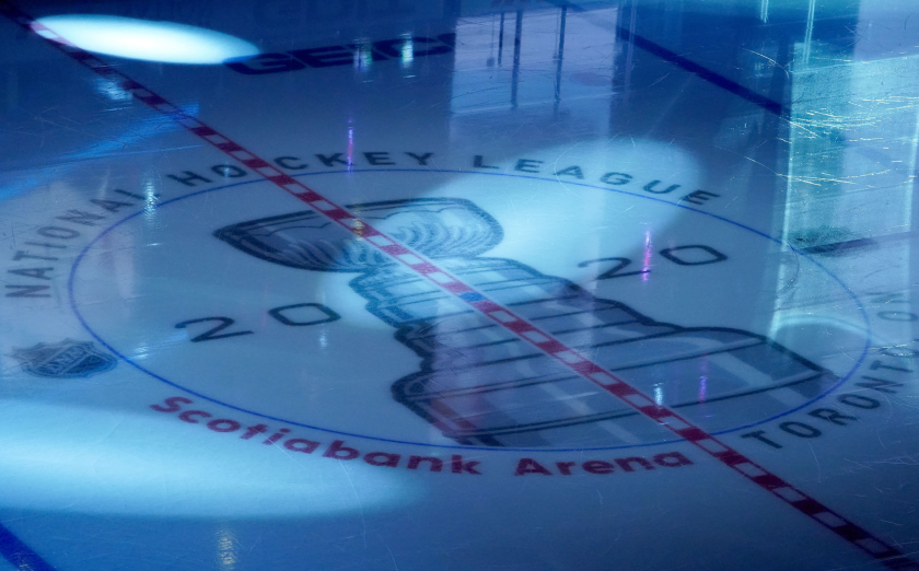 TORONTO, ONTARIO - AUGUST 09: A detailed view of the 2020 Stanley Cup logo.