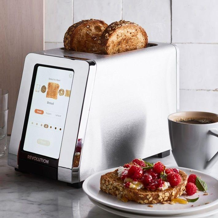 """<p><strong>Revolution Cooking</strong></p><p>williams-sonoma.com</p><p><strong>$299.95</strong></p><p><a href=""""https://go.redirectingat.com?id=74968X1596630&url=https%3A%2F%2Fwww.williams-sonoma.com%2Fproducts%2Frevolution-cooking-2-slice-high-speed-smart-toaster&sref=https%3A%2F%2Fwww.delish.com%2Fkitchen-tools%2Fcookware-reviews%2Fg32837828%2Fsmart-kitchen-appliances%2F"""" rel=""""nofollow noopener"""" target=""""_blank"""" data-ylk=""""slk:BUY NOW"""" class=""""link rapid-noclick-resp"""">BUY NOW</a></p><p>Nothing ruins <a href=""""https://www.delish.com/cooking/videos/a45499/avocado-toast-cheat-sheet/"""" rel=""""nofollow noopener"""" target=""""_blank"""" data-ylk=""""slk:avocado toast"""" class=""""link rapid-noclick-resp"""">avocado toast</a> quicker than burnt bread. This touch-screen operated toaster allows you to choose your desired level of crispiness and the exact slice you're cooking (English muffins, bagels, toast, waffles). The best part? It's always done in 15 seconds.</p>"""
