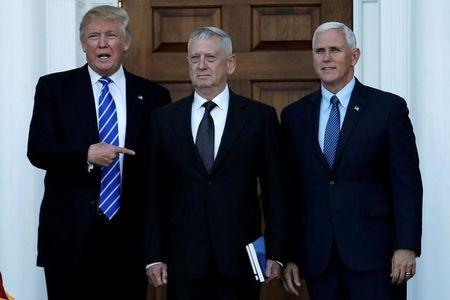 U.S. President-elect Donald Trump (L) and Vice President-elect Mike Pence (R) greet retired Marine General James Mattis in Bedminster, New Jersey, U.S., November 19, 2016. REUTERS/Mike Segar