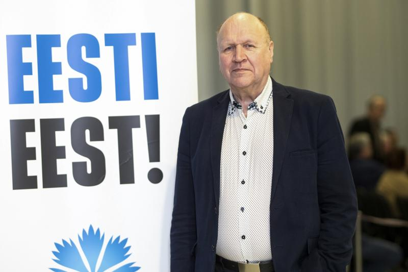 In this photo taken on Tuesday, Feb. 26, 2019, Chairman of the Estonian Conservative People's Party (EKRE) Martin Helme speaks at his party's campaign meeting in Parnu, Estonia. Nearly a million people are eligible to vote Sunday, March 3, 2019 to choose Estonia's 101-seat Riigikogu legislature, where the outgoing prime minister and his Center Party is pitted against the center-right opposition Reform Party. (AP Photo/Raul Mee)