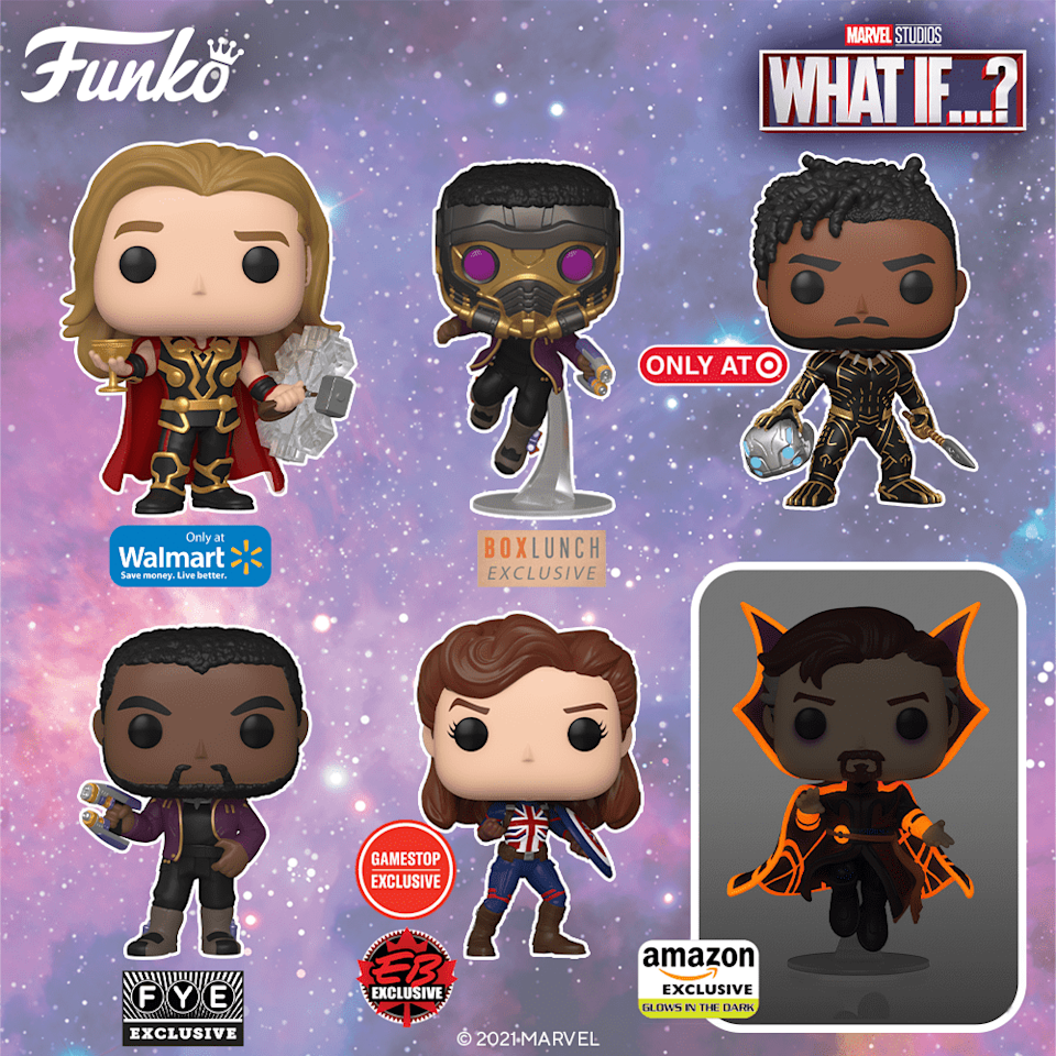 The first wave of What If...? Funko Pops.
