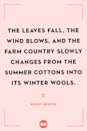 <p>The leaves fall, the wind blows, and the farm country slowly changes from the summer cottons into its winter wools.</p>