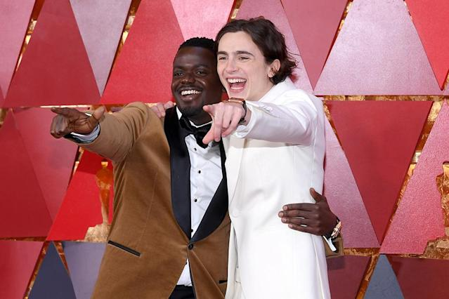 <p>Best Actor nominees Daniel Kaluuya, left, and Timothée Chalamet may not have walked off with a trophy (Gary Oldman did!), but they definitely seemed to have a blast together at their first Oscars ceremony. (Photo: Kevork Djansezian/Getty Images) </p>