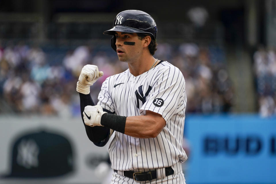 New York Yankees' Tyler Wade reacts after hitting a an RBI-single in the second inning of a baseball game against the Minnesota Twins, Saturday, Aug. 21, 2021, in New York. (AP Photo/Mary Altaffer)