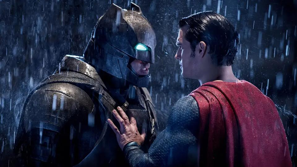 Ben Affleck and Henry Cavill portray the titular heroes in 'Batman v Superman: Dawn of Justice'. (Credit: Warner Bros/DC)