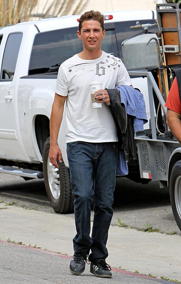 "Shia LaBeouf returned to the set of ""Transformers: Revenge of the Fallen"" on Wednesday to shoot a few final scenes. The 22-year-old told Playboy that he's been in Alcoholics Anonymous ever since his 2008 car accident permanently damaged his left hand. <a href=""http://www.x17online.com"" target=""new"">X17 Online</a> - April 29, 2009"