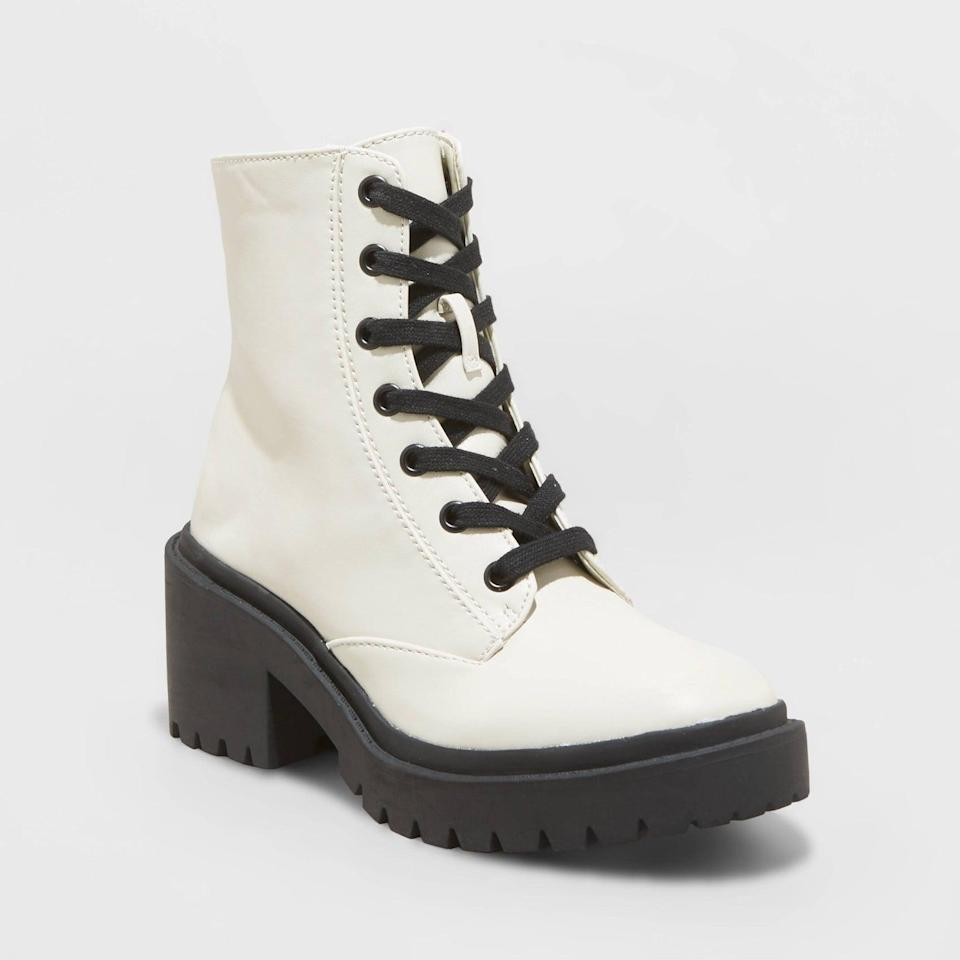 <p>These eye-catching <span>A New Day Brie Combat Boots</span> ($40) will make a good impression wherever they go. They look effortlessly cool, timeless, and modern.</p>
