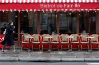 FILE PHOTO: A woman wearing a protective face mask walks past a restaurant in Paris