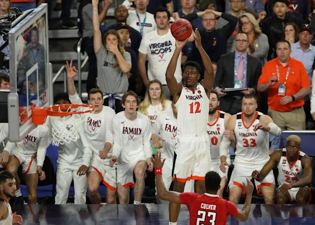 De'Andre Hunter #12 of the Virginia Cavaliers shoots the ball against the Texas Tech Red Raiders during the second half of the 2019 NCAA men's Final Four National Championship game at U.S. Bank Stadium on April 08, 2019 in Minneapolis, Minnesota. (Photo by Matt Marriott/NCAA Photos via Getty Images)