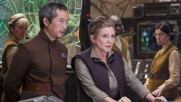 PHOTO: Carrie Fisher and Ken Leung appear in a scene from 'Star Wars: Episode VII - The Force Awakens.' (Lucasfilm)