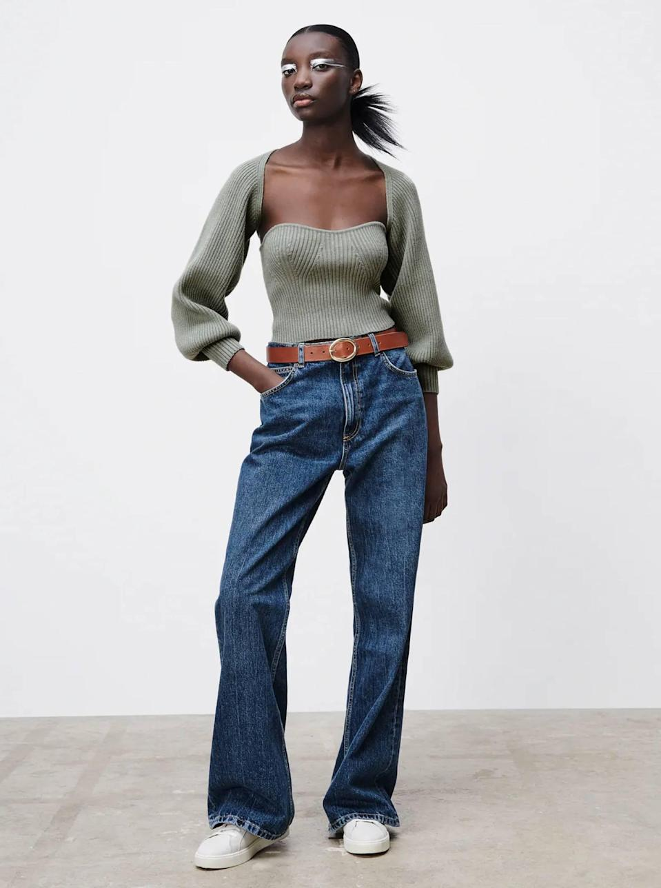"""If you love sweater sets, here's the bolero version—and the bandeau-style top creates a blank canvas for accessorizing with <a href=""""https://www.glamour.com/gallery/missoma-jewelry-what-to-buy?mbid=synd_yahoo_rss"""" rel=""""nofollow noopener"""" target=""""_blank"""" data-ylk=""""slk:chains"""" class=""""link rapid-noclick-resp"""">chains</a> or <a href=""""https://www.glamour.com/gallery/mismatched-earring-trend?mbid=synd_yahoo_rss"""" rel=""""nofollow noopener"""" target=""""_blank"""" data-ylk=""""slk:mismatched earrings"""" class=""""link rapid-noclick-resp"""">mismatched earrings</a>. $30, Zara. <a href=""""https://www.zara.com/us/en/knit-arm-warmer-sweater-p05536159.html"""" rel=""""nofollow noopener"""" target=""""_blank"""" data-ylk=""""slk:Get it now!"""" class=""""link rapid-noclick-resp"""">Get it now!</a>"""