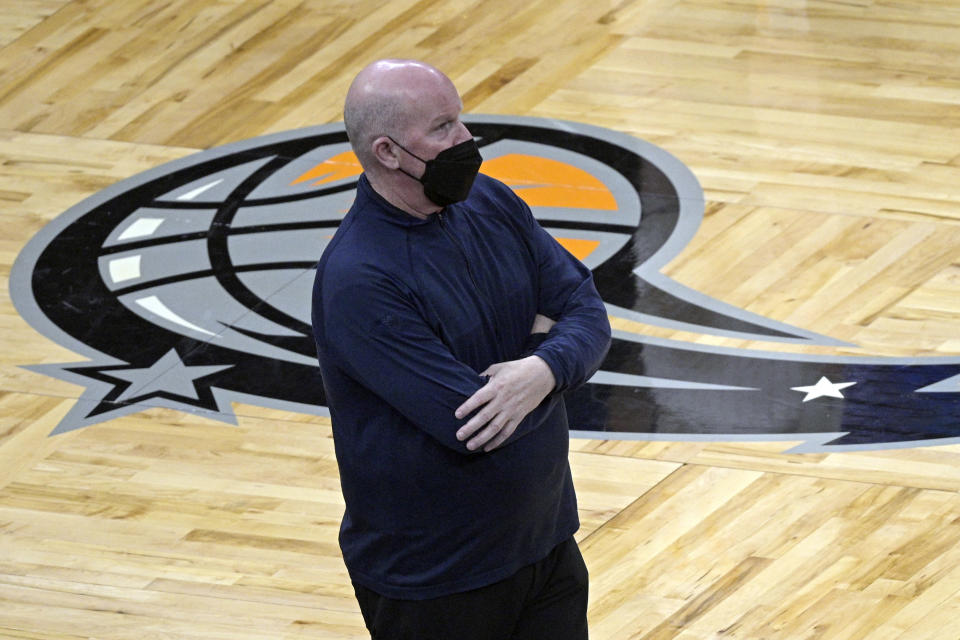 FILE - In this May 9, 2021, file photo, Orlando Magic head coach Steve Clifford watches from the sideline during the second half of an NBA basketball game against the Minnesota Timberwolves in Orlando, Fla. Clifford will not be back as coach of the Magic next season, a person with direct knowledge of the decision said Saturday, June 5, 2021. The decision was mutual, said the person who spoke to The Associated Press on condition of anonymity because the move had not been publicly announced. (AP Photo/Phelan M. Ebenhack, File)