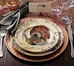 """<p>Since Thanksgiving is really all about the food, why not make your plates the statement pieces? Opt for a plate or serving platter complete with a turkey printed on it. Then, your entire table will be holiday ready no matter what other pieces you use on the table.</p><p><a class=""""link rapid-noclick-resp"""" href=""""https://go.redirectingat.com?id=74968X1596630&url=https%3A%2F%2Fwww.potterybarn.com%2Fproducts%2Fbotanical-harvest-turkey-dinner-plate-set-of-4%2F&sref=https%3A%2F%2Fwww.townandcountrymag.com%2Fleisure%2Fg13616373%2Fthanksgiving-table-setting-decor-ideas%2F"""" rel=""""nofollow noopener"""" target=""""_blank"""" data-ylk=""""slk:SHOP NOW"""">SHOP NOW</a> <em>Set of Four Botanical Turkey Dinner Plate, $69.50</em></p>"""