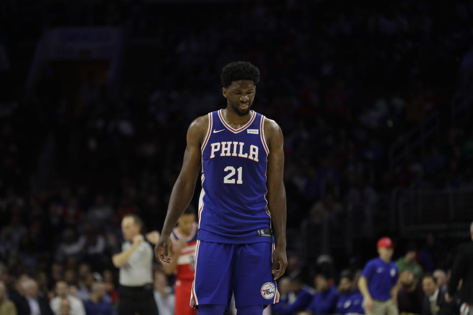 """Philadelphia 76ers' <a class=""""link rapid-noclick-resp"""" href=""""/nba/players/5294/"""" data-ylk=""""slk:Joel Embiid"""">Joel Embiid</a> visited rapper Meek Mill in prison, continuing a strong show of support for the Philly native. (AP Photo)"""
