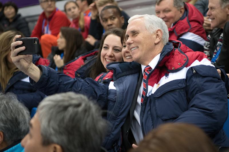 Vice President Mike Pence led the U.S. delegation at the opening ceremony to the Winter Olympics in Pyeongchang, South Korea. (Carl Court via Getty Images)