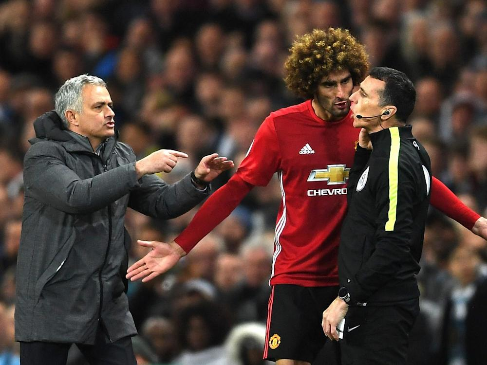 Fellaini was furious at the decision to send him off (Getty)