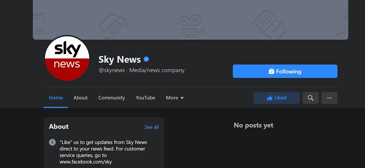 Content on Sky News's Facebook page disappears following news ban in Australia