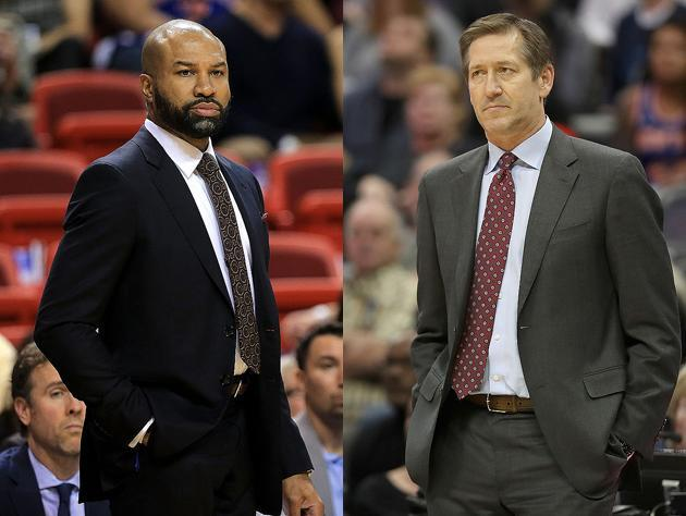 Derek Fisher and Jeff Hornacek, Knick coaches. (Getty Images)