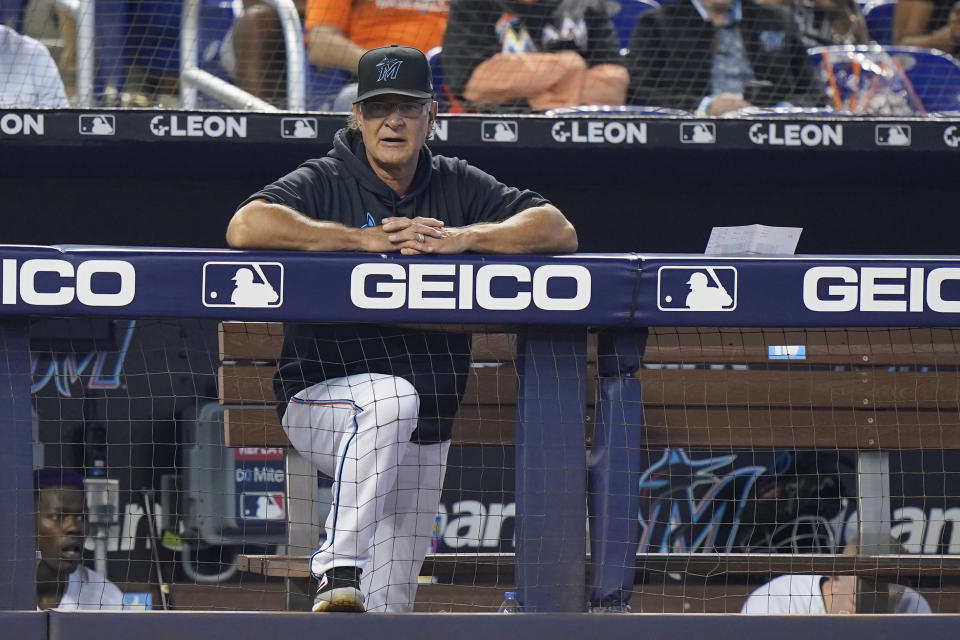 Miami Marlins manager Don Mattingly looks on during the fifth inning of a baseball game between the Marlins and the Los Angeles Dodgers, Thursday, July 8, 2021, in Miami. (AP Photo/Wilfredo Lee)