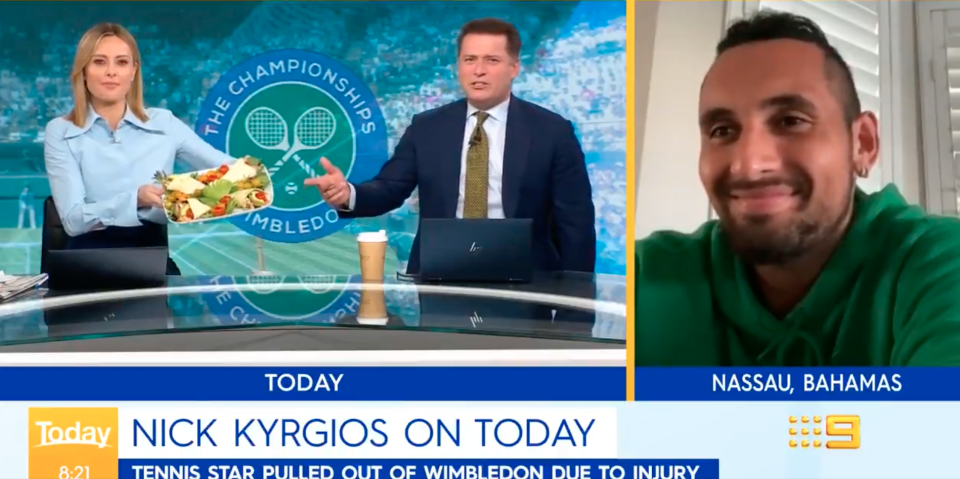 Nick Kygios on the Today show with Karl and Ally