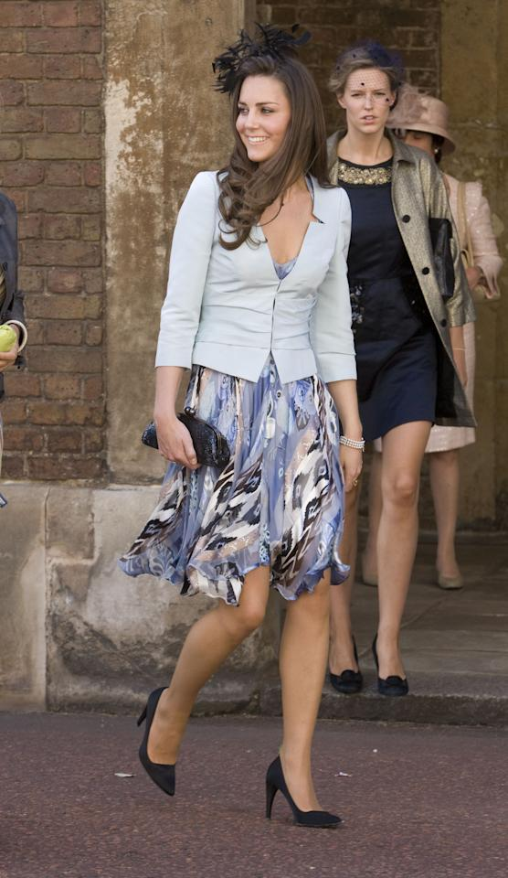 <p><strong>The wedding: </strong>Lady Rose Windsor and George Gilman at The Queen's Chapel, St. James's Palace.<br /><strong>The look: </strong>In 2008, Kate attended another society wedding wearing a blue, printed dress with a baby blue jacket and black accessories. <br /><em>[Photo: Getty]</em> </p>