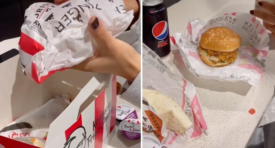 Images from TikTok showing a KFC meal.