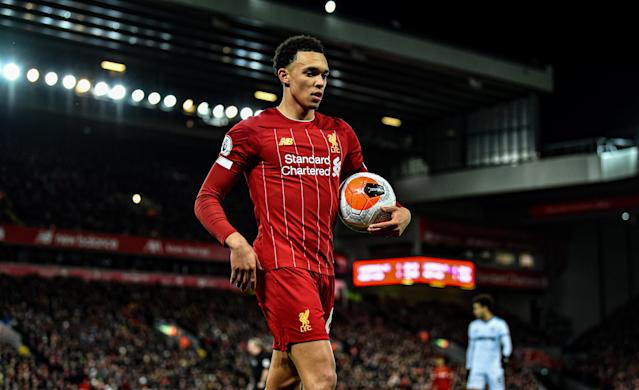 Trent Alexander-Arnold of Liverpool. (Photo by Andrew Powell/Liverpool FC via Getty Images)
