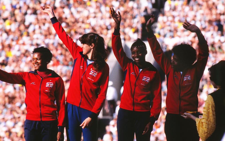 Heather Hunte, Kathy Cook, Beverley Goddard and Sonia Lannaman at the 4x100m relay presentation in 1980 - Shutterstock
