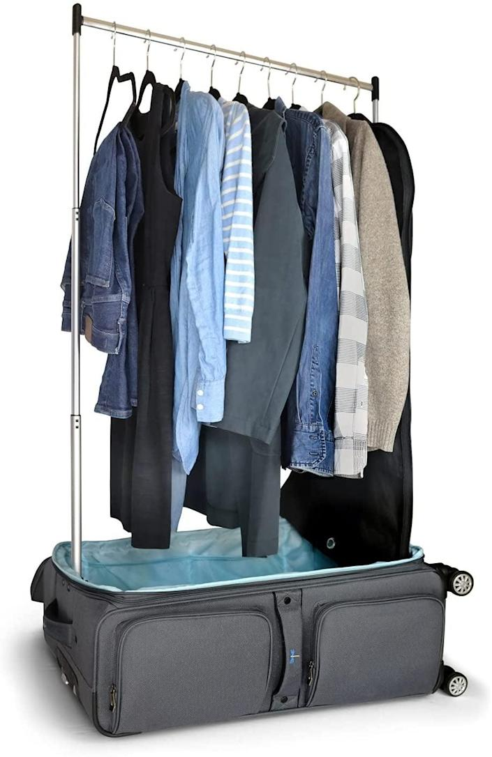 """<h2>Travolution Garment Rack 28 inch Luggage with Spinner Wheels</h2><br><br><strong>Travolution</strong> Garment Rack 28 inch Luggage with Spinner Wheels, $, available at <a href=""""https://www.amazon.com/Briggs-Riley-Baseline-Expandable-Upright/dp/B008M6ZDAG"""" rel=""""nofollow noopener"""" target=""""_blank"""" data-ylk=""""slk:Amazon"""" class=""""link rapid-noclick-resp"""">Amazon</a>"""