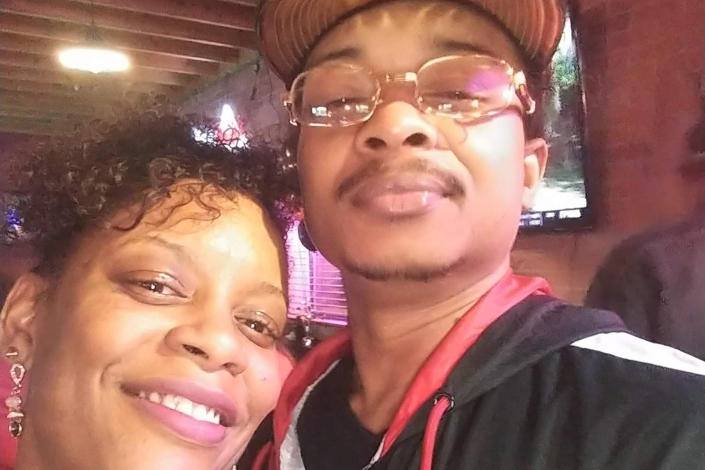 FILE - In this September 2019 file selfie photo taken in Evanston, Ill., Adria-Joi Watkins poses with her second cousin Jacob Blake. He is recovering from being shot multiple times by Kenosha police on Aug. 23. (Courtesy Adria-Joi Watkins via AP, File)