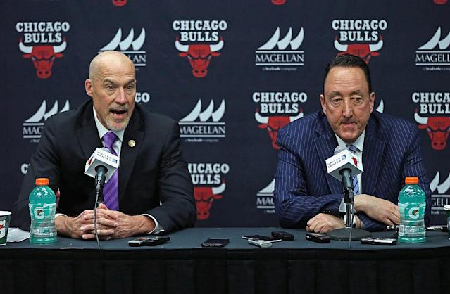 "<a class=""link rapid-noclick-resp"" href=""/nba/teams/chi"" data-ylk=""slk:Chicago Bulls"">Chicago Bulls</a> executive vice president John Paxson and general manager Gar Forman face more questions. (Getty Images)"