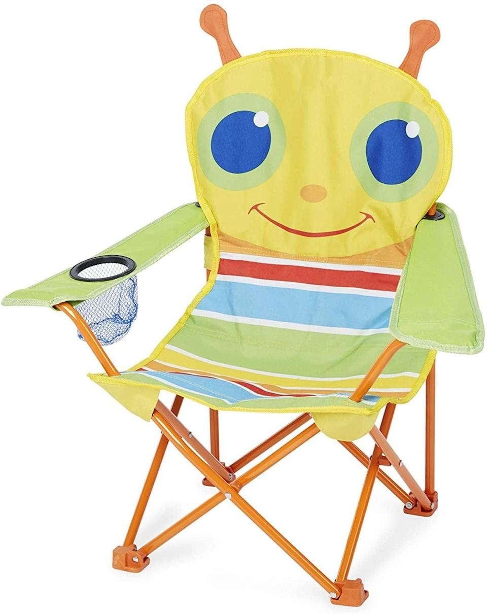 """<p>While any camping chair will do, your little one will get a kick out of this <a href=""""https://www.popsugar.com/buy/Melissa-amp-Doug-Giddy-Bug-Chair-574566?p_name=Melissa%20%26amp%3B%20Doug%20Giddy%20Bug%20Chair&retailer=target.com&pid=574566&price=18&evar1=moms%3Aus&evar9=47479532&evar98=https%3A%2F%2Fwww.popsugar.com%2Fphoto-gallery%2F47479532%2Fimage%2F47479542%2FMelissa-Doug-Giddy-Bug-Chair&list1=camping%2Ckid%20activities%2Ckid%20shopping%2Cparent%20shopping%2Cstaying%20home&prop13=api&pdata=1"""" class=""""link rapid-noclick-resp"""" rel=""""nofollow noopener"""" target=""""_blank"""" data-ylk=""""slk:Melissa &amp; Doug Giddy Bug Chair"""">Melissa &amp; Doug Giddy Bug Chair</a> ($18). Designed for kids up to age 5, this chair has one cup holder and is lightweight enough for kids to carry.</p>"""