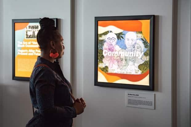 One of Sade Alexis' pieces on display at Hope Meets Action: Echoes Through the Black Continuum. Titled 'We Been Here,' it depicts historic Black figures of B.C. Alexis said she overlapped the drawings to convey a sense of community. (Royal BC Museum - image credit)