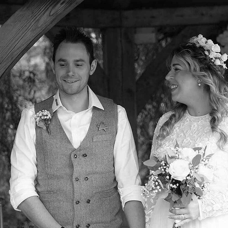 Katie was unable to invite the residents at the care home she worked for to her rustic wedding in August 2021 (PA Real Life/Emma Thurlow Photography).