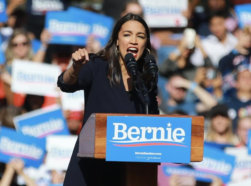 Rep. Alexandria Ocasio-Cortez speaks at a rally for Sen. Bernie Sanders in Queens, N.Y. (Photo: Gordon Donovan/Yahoo News)