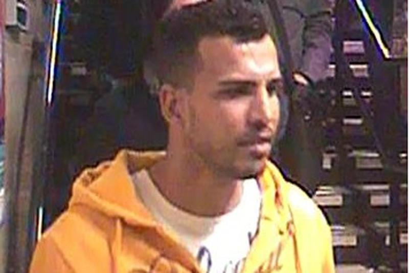 Tube attack: A CCTV image of a man police want to speak to after a woman was attacked: BTP