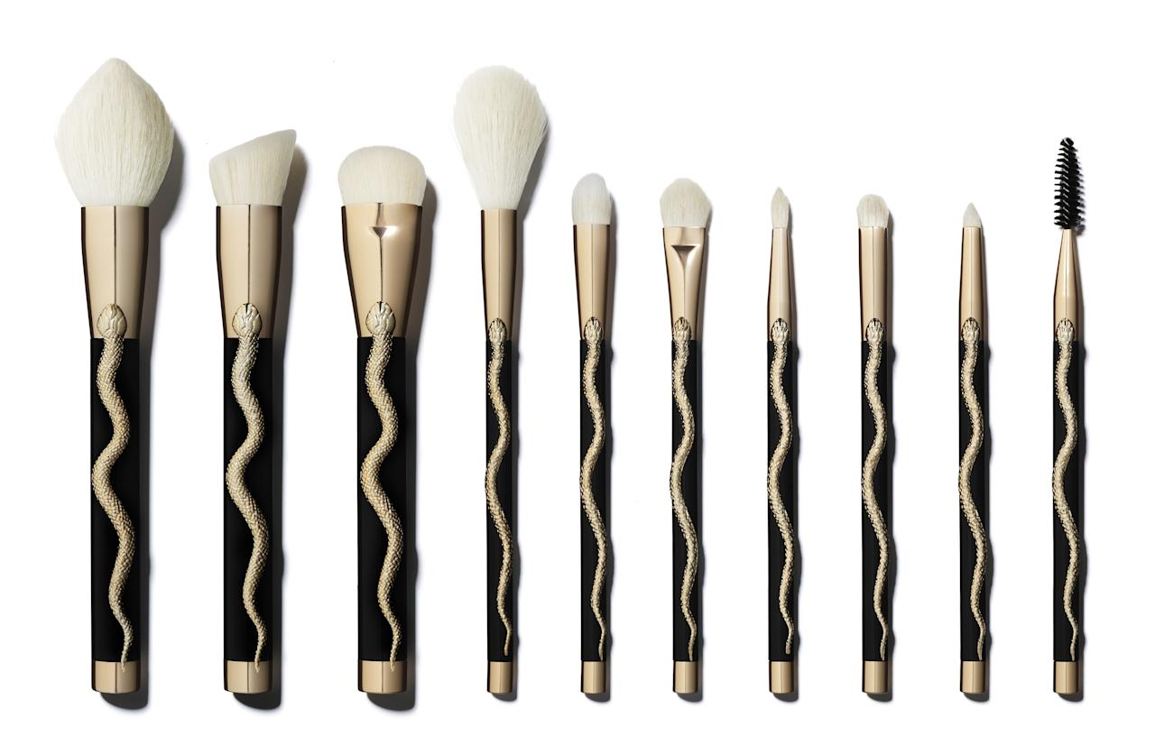 <p>Set up your friend with a basic brush set. This holiday serpent collection has everything you need for foundation, brows, and eye makeup. Plus, there's a flat contour brush, which can also be used for blush and setting powder for makeup newbies.</p>