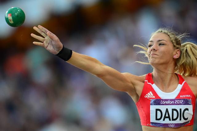 Austria's Ivona Dadic competes in the women's heptathlon shot put at the athletics event during the London 2012 Olympic Games on August 3, 2012 in London. AFP PHOTO / FRANCK FIFEFRANCK FIFE/AFP/GettyImages