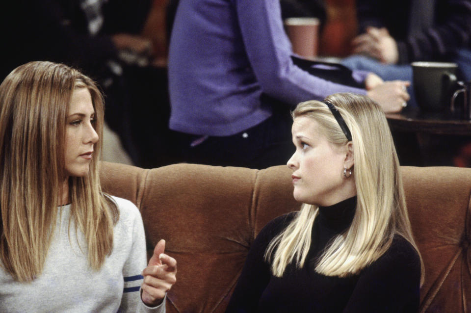 """FRIENDS -- """"The One with Rachel's Sister"""" Episode 13 -- Air Date 02/03/2000 -- Pictured: (l-r) Jennifer Aniston as Rachel Green, Reese Witherspoon as Jill Green  (Photo by NBC/NBCU Photo Bank via Getty Images)"""