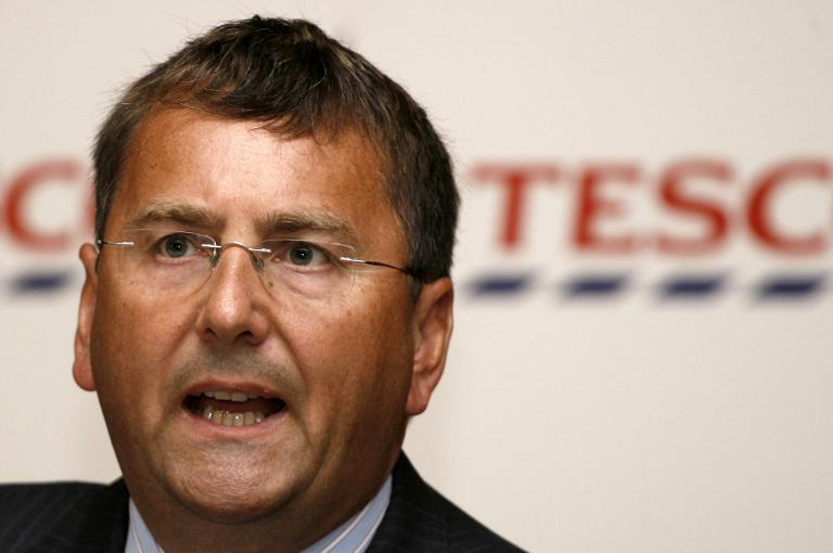 Then Information Technology Director of British retailer Tesco Philip Clarke addresses a press conference in Mumbai on August 12, 2008