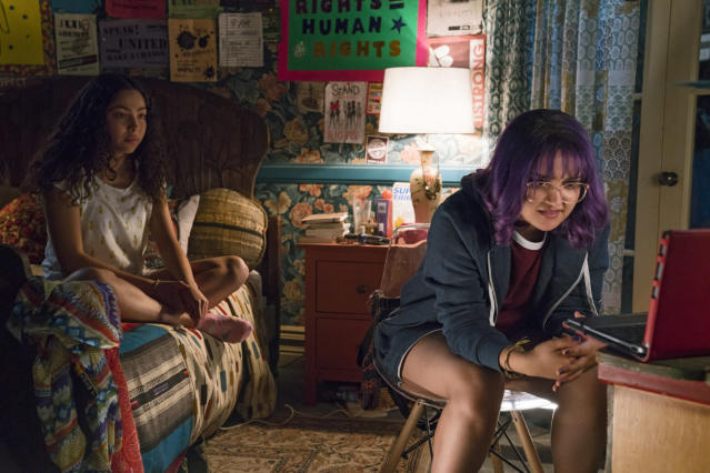 Allegra Acosta as Molly and Ariela Barer as Gert in <em>Marvel's Runaways</em>. (Photo: Greg Lewis/Hulu)