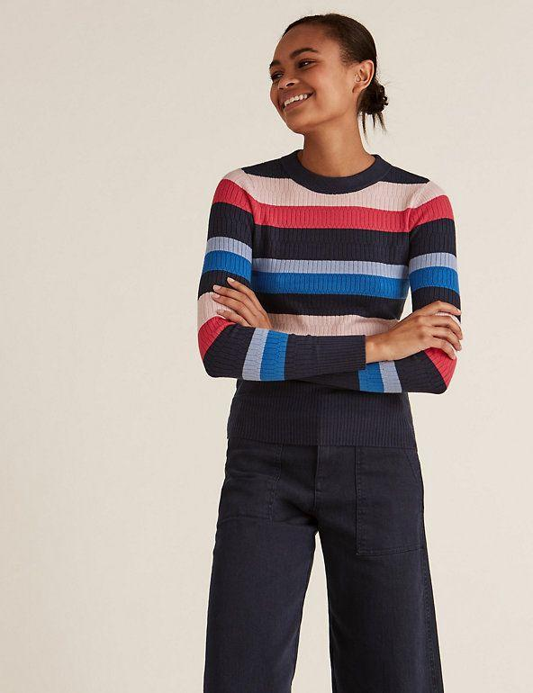 """<p><a class=""""link rapid-noclick-resp"""" href=""""https://go.redirectingat.com?id=127X1599956&url=https%3A%2F%2Fwww.marksandspencer.com%2Fsoft-touch-striped-textured-fitted-jumper%2Fp%2Fclp60456152&sref=https%3A%2F%2Fwww.redonline.co.uk%2Ffashion%2Fshopping%2Fg34625942%2Fmarks-and-spencer-womenswear-sale%2F"""" rel=""""nofollow noopener"""" target=""""_blank"""" data-ylk=""""slk:SHOP HERE"""">SHOP HERE</a> <strong>Was £25, Now £17.50 </strong></p><p>What's a winter wardrobe without a stripped jumper? And, with its bold stripes and textured design, this jumper is ready to make a statement. Plus, it's fitted for a snug, figure-hugging look and feel.</p>"""