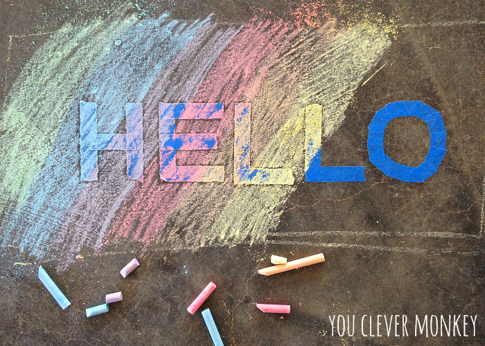"""<p>Create a cool chalk art look by laying down painter's tape first. Draw a pattern or word using the tape; then chalk over it in colors of your choice. When you remove the tape, you've got a cool resist look left behind.</p><p><em><a href=""""https://www.youclevermonkey.com/2015/01/easyplayidea-2.html"""" rel=""""nofollow noopener"""" target=""""_blank"""" data-ylk=""""slk:Get the tutorial from You Clever Monkey »"""" class=""""link rapid-noclick-resp"""">Get the tutorial from You Clever Monkey »</a></em></p>"""