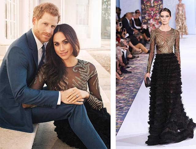 The former <em>Suits</em> actress is wearing an embellished couture gown by Ralph & Russo. (Photo: Kensington Palace/Getty)